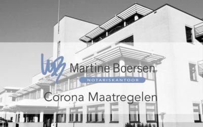 Corona Maatregelen Notariskantoor Martine Boersen